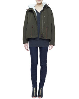 Burberry Brit Military Jacket with Shearling Fur Trim, Merino-Wool Short-Sleeve Collared Shirt & Denim Skinny-Leg Jeans