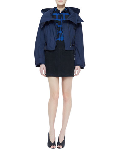 Burberry Brit Twill Hooded Cropped Jacket, Cotton Plaid Button-Up Blouse & Lambskin Two-Pocket Mini Skirt