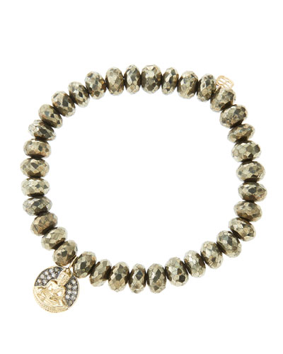 Sydney Evan 8mm Faceted Champagne Pyrite Beaded Bracelet with 14k Gold/Diamond Sitting Buddha Charm (Made to Order)