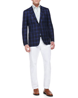 Kiton Cashmere-Silk Plaid Sport Coat & Check Woven Dress Shirt & Twill Straight-Leg Trousers