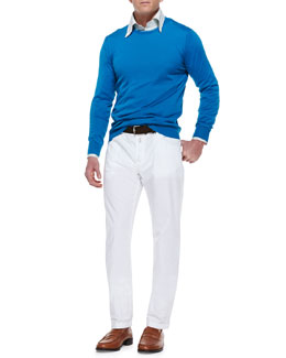 Kiton Knit Long-Sleeve Sweater,  Check Woven Dress Shirt & Twill Straight-Leg Trousers