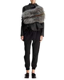 Lanvin Wool-Blend Peplum Jacket, Wool Jersey Harem Pants & Knit and Fox Fur Infinity Wrap