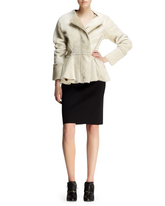 Seamed Shearling Peplum Jacket and Bicolor Neoprene Pencil Skirt