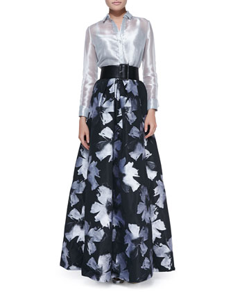 Sale alerts for Carmen Marc Valvo Long-Sleeve Sheer Metallic Blouse & Pleated Floral-Print Ball Skirt - Covvet