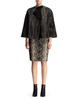 Lanvin Boxy Spotted Calf Hair Jacket, Pin-Shoulder Top & Python-Jacquard Pencil Skirt