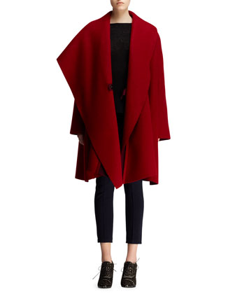 Full-Lapel Draped Coat and Flat-Front Jersey Leggings