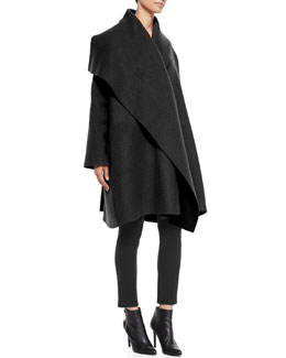 Lanvin Wool/Mohair Coat with Draped Lapel & Flat-Front Compact Jersey Leggings