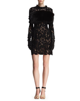 Lanvin Velvet Lace Embellished-Neck Dress & Fox Fur and Knit Infinity Wrap