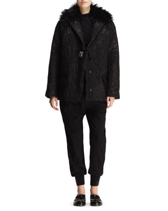 Matelasse Crystal-Button Short Coat, Ruched Pin-Shoulder Top & Knit Harem Pants