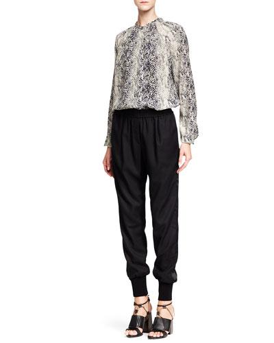 Lanvin Python-Print Silk Blouse and Knit Harem Pants