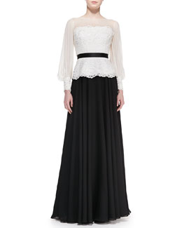 Rickie Freeman for Teri Jon Long-Sleeve Lace/Georgette Top & Double-Georgette Ball Skirt