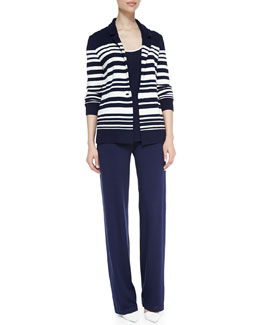Neiman Marcus Striped Knit One-Button Blazer, Scoop-Neck Sleeveless Tank & Wide-Leg Pull-On Pants