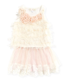 Baby Sara Mesh-Ruffle Front Tank Top & Tutu Lace Skort, Toddler & Girls' Sizes