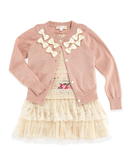 Baby Sara Bow-Trimmed Cardigan & Lace-Trimmed Rose-Print Dress