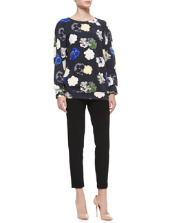 DKNY Raglan Graphic & Pixel Floral-Print Sweatshirt & Skinny Ankle Pants with Cuffed Hem