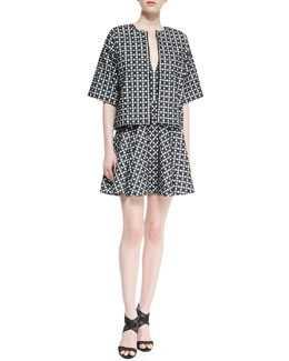 DKNY Printed Elbow-Sleeve Boxy Jacket & Sleeveless Printed Dress with Flared Skirt