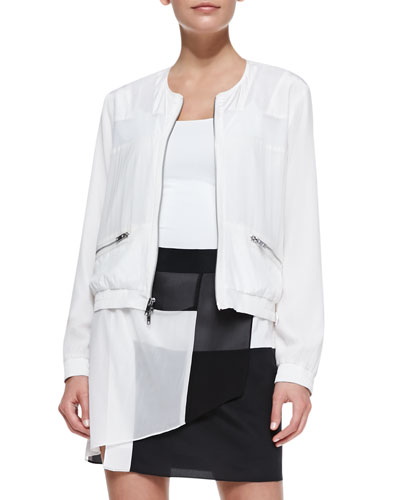 DKNY Long-Sleeve Zip-Front Jacket with Mesh Inserts & Pull-on Layered Colorblock Skirt