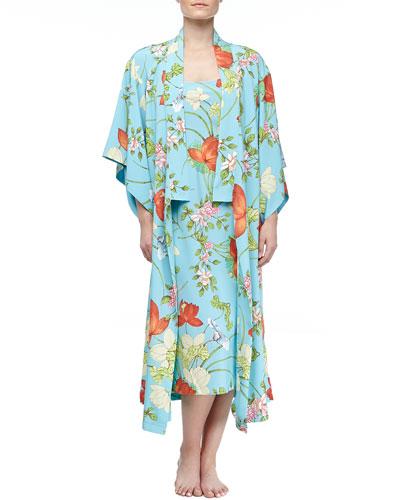 Natori Peranakan Floral Print Long Gown & Long Kimono Robe