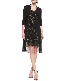 Eileen Fisher Half-Sleeve Shrug & Sleeveless Tarnished Sequins Dress