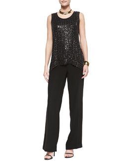 Eileen Fisher Sequin Raindrop Knit Shell, Silk Jersey Long Slim Camisole & Eco Tropical Suiting Wide-Leg Trousers