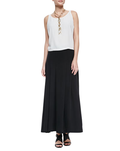 Eileen Fisher Silk Georgette Short Tank & Pleated Maxi Skirt