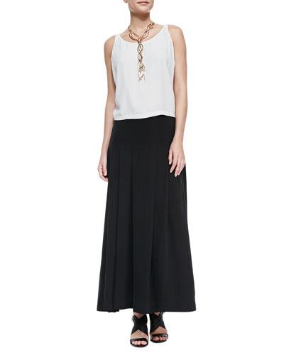 Eileen Fisher Silk Georgette Short Tank & Pleated Maxi Skirt