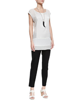 Eileen Fisher Silk Cap-Sleeve Tunic & Washable Stretch-Crepe Ankle Pants, Petite