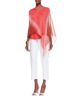 Eileen Fisher Halo Shibori Linen Poncho, Lightweight Organic V-Neck Top & Slim Ankle Pants