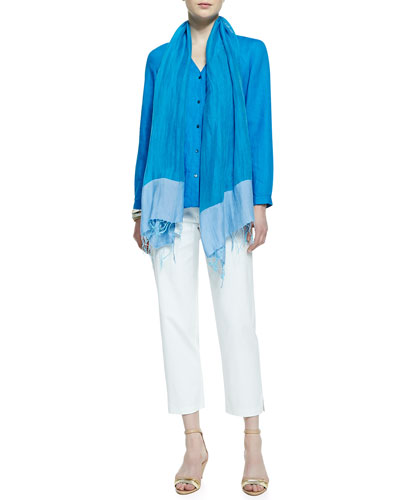 Eileen Fisher Handkerchief Linen V-Neck Shirt, Twill Slim Ankle Pants & Color-Tipped Gauze Scarf