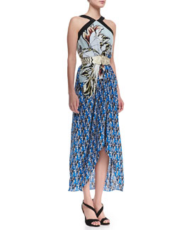 Etro Long Printed Halter Sarong Dress & Silvertone Gladiator Stretch Belt
