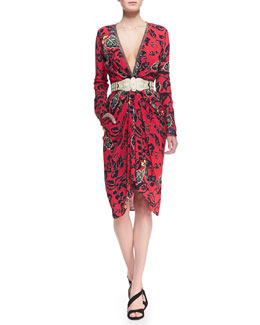 Etro Plunging Maui Floral Dress with Long Sleeves & Silvertone Gladiator Stretch Belt