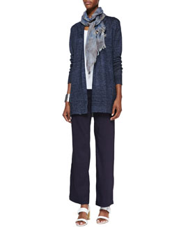 Eileen Fisher Long Delave Knit Cardigan, Slim Tank, Straight-Leg Trousers & Hazy Printed Scarf