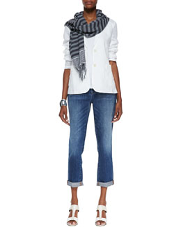 Eileen Fisher Handkerchief Linen 2-Button Jacket, Slim Tank, Stretch Boyfriend Jeans & Multi-Striped Cotton Scarf, Petite