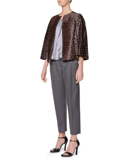 Giorgio Armani Cropped Leopard-Print Calf Hair Jacket, Scoop-Neck Silk Charmeuse Cami & Micro Pleat Flannel Gabardine Ankle Pants