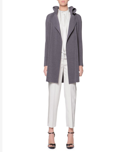 Plisse Exaggerated Lapel Jacket, Sleeveless Drape-Ascot Silk Top & Satin Side-Striped Tailored Gabardine Pants