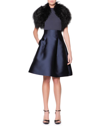 Curly Lamb Shearling Collar, Cap-Sleeve Shoulder-Ruched Jersey Top & High-Waist Silk Gazar Full A-Line Skirt
