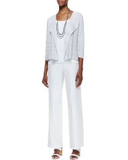 Eileen Fisher Linen Drape-Front Grid Jacket, Slim Tank, Wide-Leg Crepe Pants & Bindu Silk Beaded Necklace, Petite