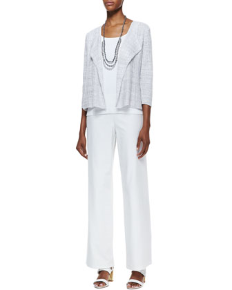 Linen Drape-Front Grid Jacket, Slim Tank, Wide-Leg Crepe Pants & Bindu Silk ...