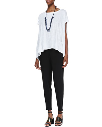 Organic Linen Jersey Swing Top, Slouchy Tapered Pants & 3-Strand Bindu Silk ...