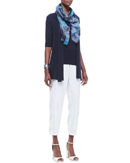 Eileen Fisher Half-Sleeve Organic Open-Front Cardigan, Long Slim Tank, Cargo Ankle Pants & Painted Crinkle Gauze Scarf, Women's