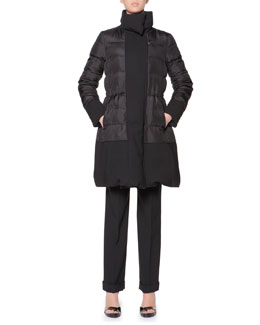 Giorgio Armani Reversible Goose Down Long Puffer Coat & Stretch Wool Cuffed Straight-Leg Pants