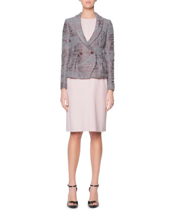 Sequined Boucle Shawl-Collar Jacket & Ruched-Shoulder Wide-Belted Sheath Dress