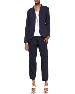 Eileen Fisher Shawl-Collar Peplum Jacket, Slim Tank & Cargo Linen-Blend Ankle Pants, Women's