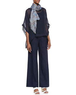 Eileen Fisher Short-Sleeve Poncho Top, Long Slim Tank, Wide-Leg Linen Pants & Hazy Printed Scarf