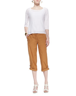 Eileen Fisher Lightweight Linen Pullover Top & Twill Cuff Capri Pants