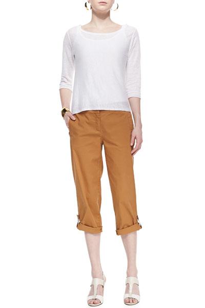 Eileen Fisher Lightweight Linen Pullover Top & Twill Cuff Capri Pants, Petite
