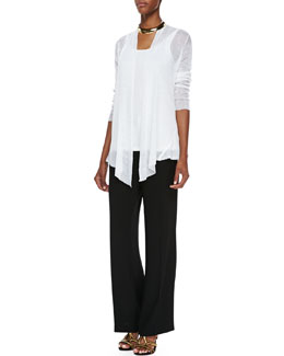 Eileen Fisher Hemp Mesh Ribbed Cardigan, Long Slim Camisole & Suiting Wide-Leg Trousers
