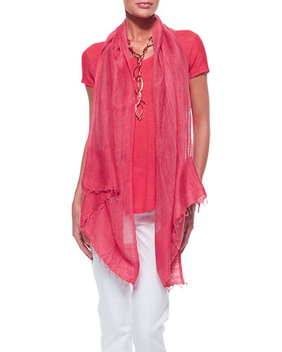 Eileen Fisher Lightweight Organic V-Neck Top & Color-Tipped Gauze Scarf