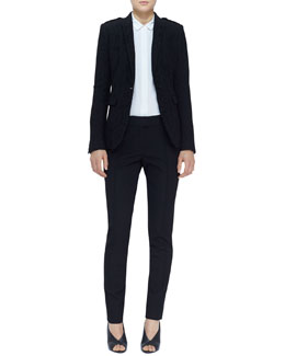 Burberry London Single-Button Lace Blazer, Sheer-Panel Blouse & Creased Straight-Leg Pants
