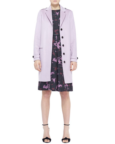 Burberry London Cashmere Topper Coat, Printed Front-Pleat Dress & Equestrian Leather Waist Belt